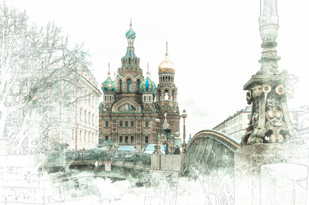 Stylized by watercolor sketch painting of Church of the Savior on Blood, St Petersburg, Russia Standard-Bild