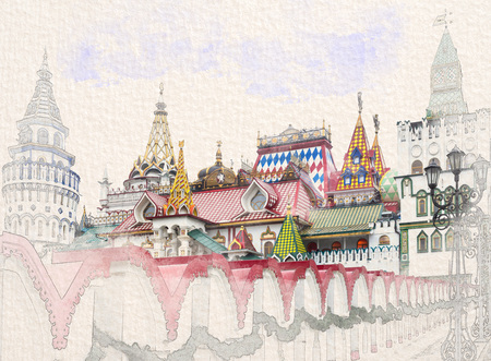 Stylized by watercolor sketch painting of beautiful view of Kremlin in Izmailovo, Moscow, Russia on a textured paper.