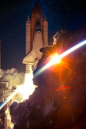 Spaceship launch at night.
