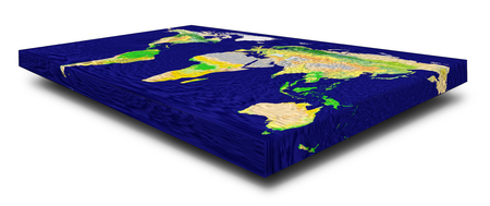 Representation of a rectangular flat Earth model on white with shadow.