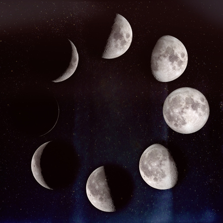 Phases of the Moon: waxing crescent, first quarter, waxing gibbous, full moon, waning gibbous, third guarter, waning crescent, new moon.