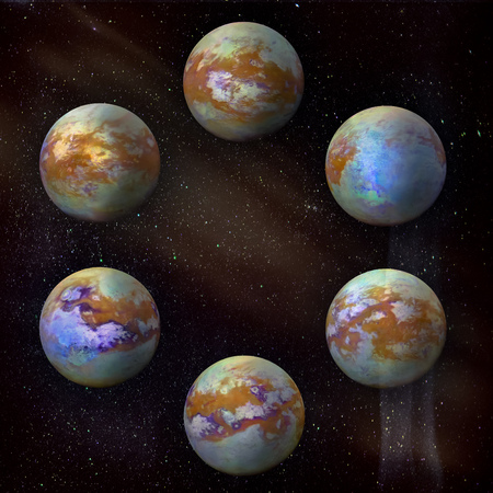 Saturns moon Titan, set of six different angles in the circle at the galaxy stars background.