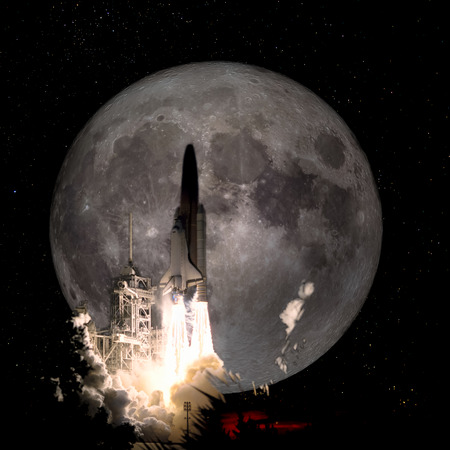 Spaceship taking off on a mission to the full moon, conceptual travel to the moon collage.
