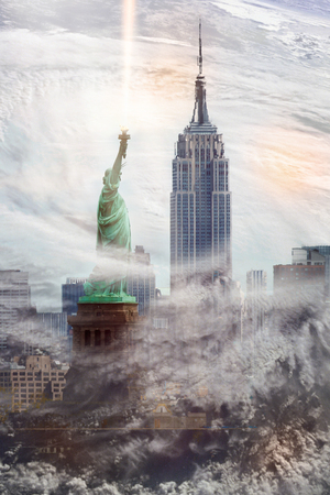 New York cityscape with Empire State Building and Statue of liberty inside the clouds from hurrricane. Conceptual collage.