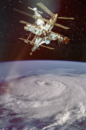 Giant hurricane seen from the , and iss above.