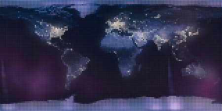 World map from mosaic rhombus tiles, night dark continents with city lights.