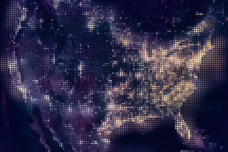 United States of America map from mosaic rhombus tiles, night dark with city lights.