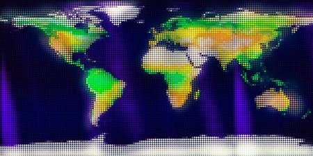 World map from mosaic rhombus tiles.
