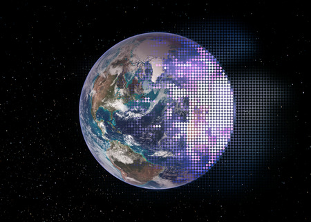 Planet Earth in outer , half break down into the technology mosaic rhombus tiles. Conceptual collage. Stock Photo
