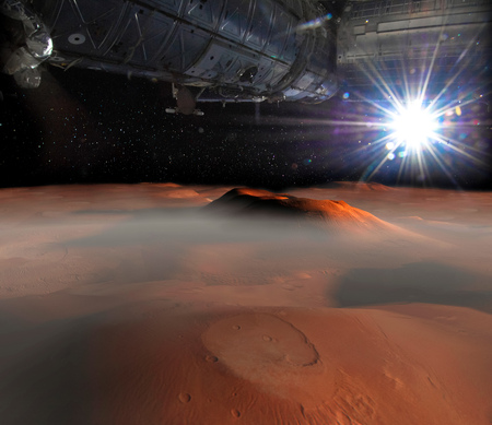 Spaceship on the orbit above Mars surface on the background. Stock Photo