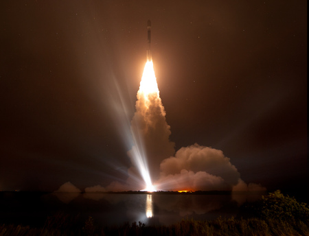 Missile launch at night.