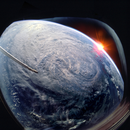 Planet Earth and hurricane from the outer  from the ISS window.