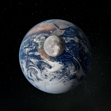 The surface of the Moon against the Earth.