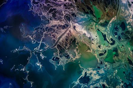 Saskatchewan River Delta, Manitoba, Canada. Satellite view. Colorful collage. Stock Photo