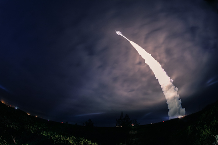 Missile launch at night. The elements of this image furnished Stock Photo