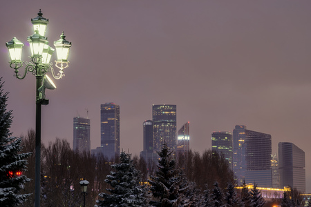 Moscow International Business Center (Moscow City), Russia, Night view from the park with streetlight and copy space at the sky.