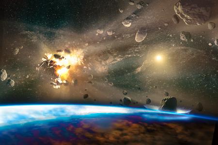 Falling meteorites of asteroids in the Earths atmosphere.