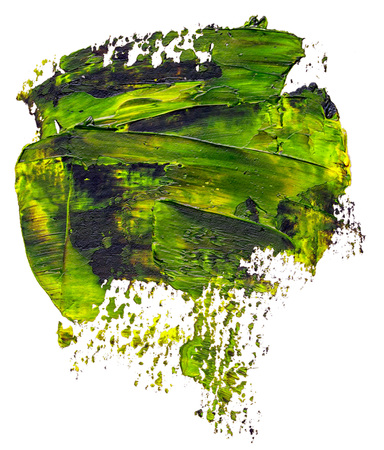 Textured green and black oil paint brush stroke, isolated on white
