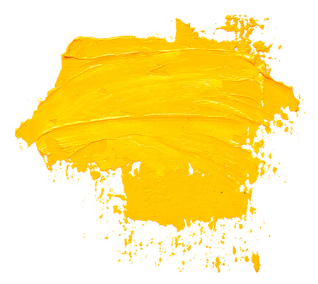 Textured yellow oil paint brush stroke, isolated on white
