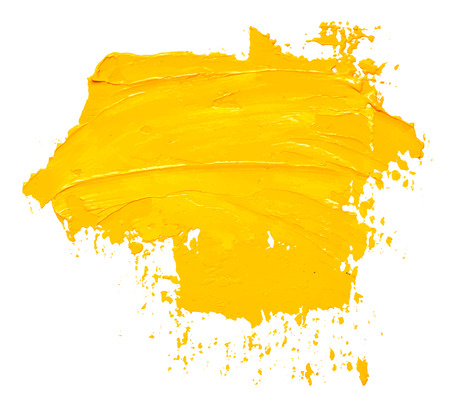Textured yellow oil paint brush stroke, isolated on white background. EPS10 vector illustration.