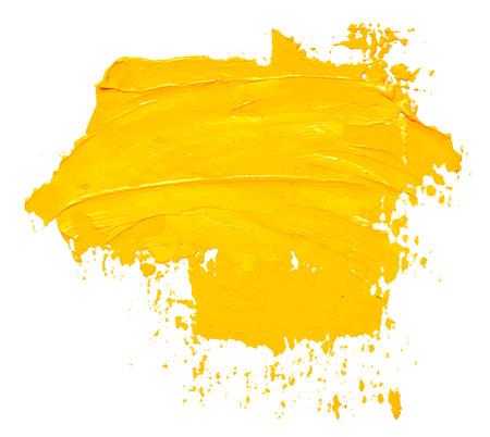 Trazo de pincel de pintura de aceite amarillo con textura, aislado sobre fondo blanco. Ilustración de vector Eps10.