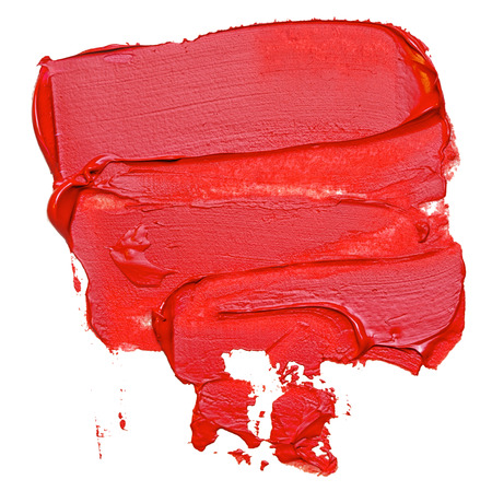 Template for your banner text - textured red oil paint brush stroke, isolated on white Stock Photo