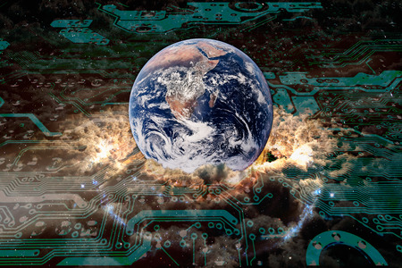 Cloud computing worldwide concept. Planet Earth with surrounding clouds and motherboard surface, collage.
