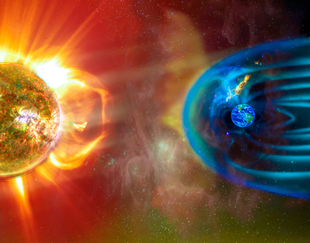 The Sun-Earth connection space weather. Blasts of particles and magnetic field from the sun impact magnetosphere.