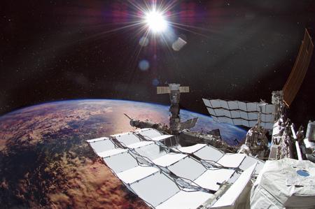 Spaceship on the orbit.
