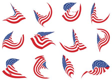 Set of 12 different curved USA star flag logo stripes design elements vector icons on white Illustration