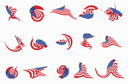 Set of 15 different curved USA star flag logo stripes design elements vector icons on white Illustration