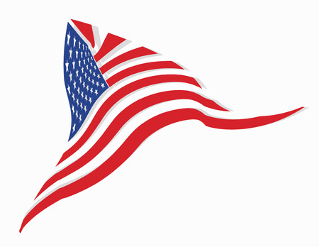 Waving on the wind triangular shape american flag with shadow, isolated on white