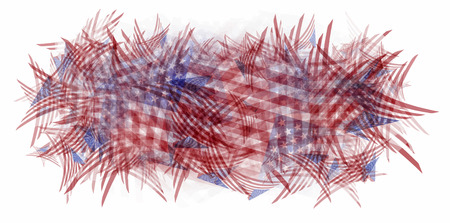 Patchwork pattern of american flags in the form of a rectangular frame for text on top, isolated on white Illustration