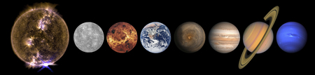Solar system planets and the Sun in a row isolated on black. Stock Photo