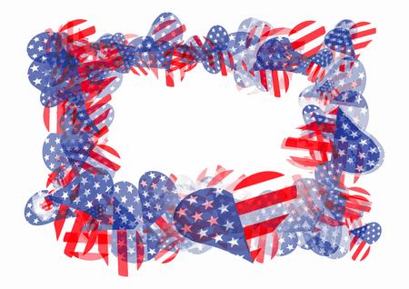 Rectangular frame from heart shape american flags, isolated on white background eps10 vector illustration. Illustration