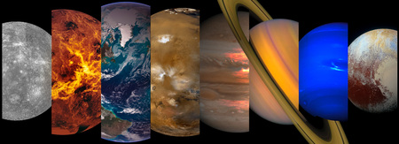 Collage slicing planets of the solar system on a black Banque d'images