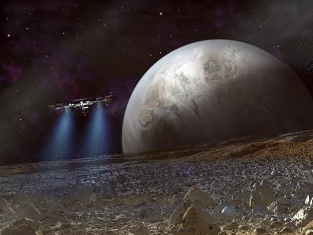 Spaceship and alien planet landscape.