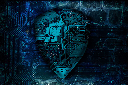 Cyber security concept. Protected guard shield circuit board as the idea of cybersecurity or privacy of information and antivirus. Electronic computer hardware processor security technology.