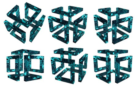 Set of six different angles voluminous hollow 3d cubes whose