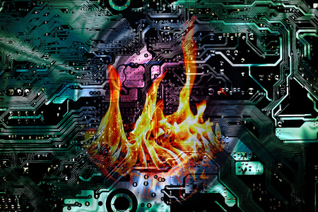 Data on fire. Motherboard and flame in the middle, information technology security concept. Stock fotó