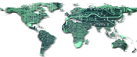 Digital global technology concept, world map with circuit board pattern with shadow isolated on white background.