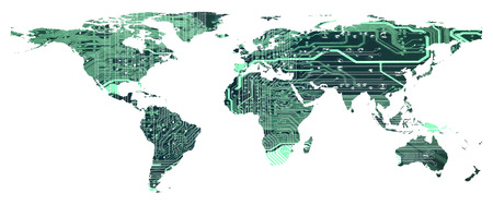 Digital global technology concept, world map with circuit board pattern isolated on white background, EPS10 vector illustration. Elements of this image furnished by NASA.