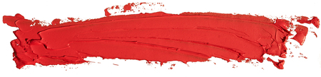 Red oil texture paint stain brush stroke, hand painted, isolated on white background.