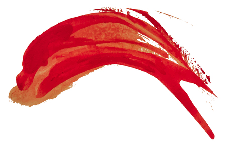 Red watercolor texture paint stain brush stroke dolphin shape, isolated on white