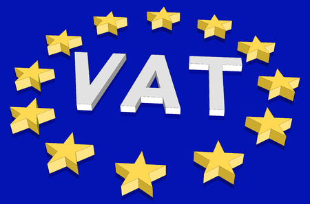 Isometric European Union flag with 3d stars in perspective and the value added tax acronym VAT.
