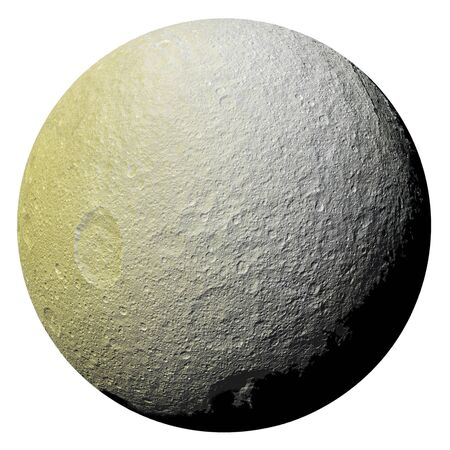 Saturn's icy moon Tethys isolated on white