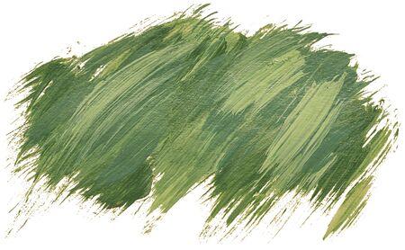 Rayures de pinceau acrylique isolées dessinées à la main avec une couleur verte sale Banque d'images