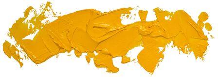 Długi, ręcznie rysowane izolowany pasek pędzla olejnego o brudnym żółtym kolorze