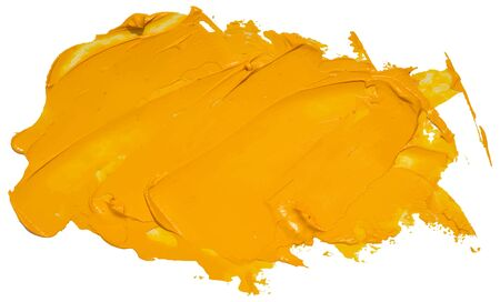 Yellow oil brush stroke. Abstract varnish splash trace shape. Stock Illustratie