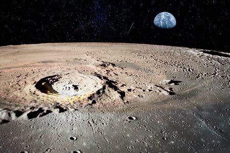 Planet Erde von der Mondoberfläche. Standard-Bild
